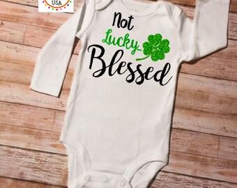 St. Patricks Onesie, Baby Onesie, St. Patrick's Onesie, Shamrock Onesie, Baby Shower Gift, St. Patricks Baby, Blessed Onesie