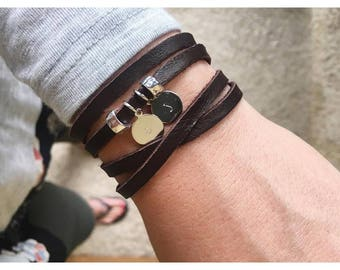 Handstamped initial leather wrap bracelet