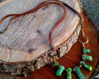 Jadeite and Bronze Necklace with Tan Leather Cord