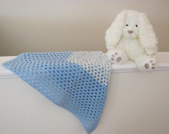 Crochet Soft Blue Baby Afghan, Blue Crochet Granny Square Baby Blanket, Baby Shower