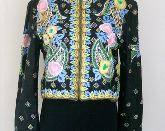 Vintage Rare Embellished and Embroidered Silk and Sequin Jacket Size Medium
