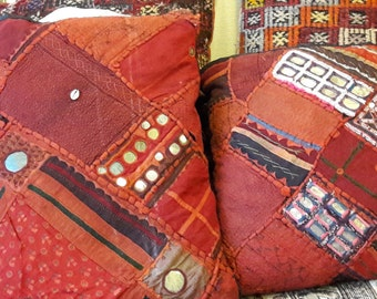 Lovely  decorative shabby  square  cushions pillows patchwork form India, hand sewn inEurope. Highly decorative, vintage, Oriental  decor.