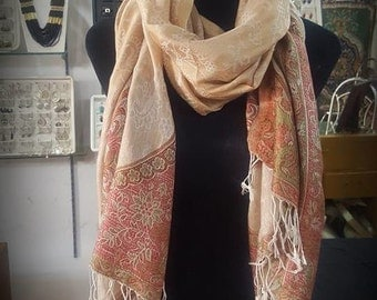 Golden beige silk and cashmere shawl - New collection !!! Butterfly effect