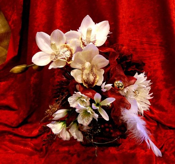 Christmas Fabulosity Cube #4 Cymbidium Orchid Showcase Red & White Silk Floral Arrangement in Silver Mercury Glass Base