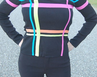80s does mod 60's pullover | Twiggy color block statement blouse | Megan Draper Mad Men | 80s theme party | Ribbon sweater | Jumper |  Small
