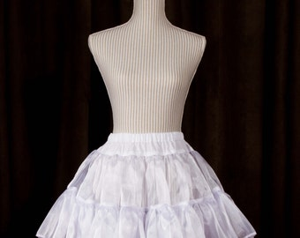 Short Organza Crinoline with Adjustable Elastic Waist, XS to 2X, Many Colors