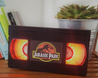 Retro VHS Jurassic Park Jurassic World Night Light Table Lamp. Order any film, movie, series, or actor! Great personal gift. Father's Day