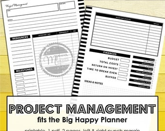Project Management. Big Happy Planner inserts. Projects Budget planner, financial planner, goalsetting planner, resources, expense tracker
