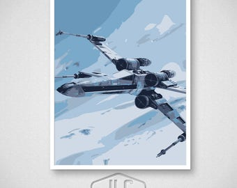 Star Wars Art Print, X-Wing Fighter on Hoth, Movie Poster