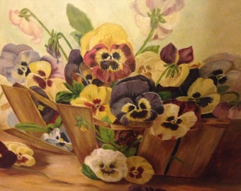 Antique 1892 oil painting of pansies