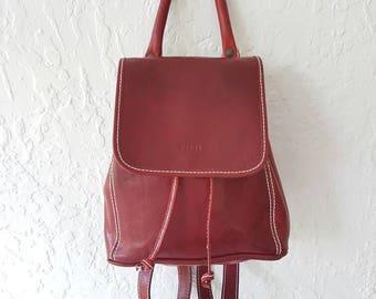 Red Leather Backpack • Vintage Backpack • Vintage Leather Bag • Drawstring backpack •