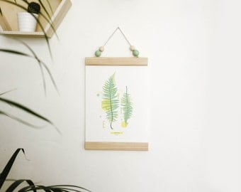 Poster hanger / magnetic wooden hanger / one for A4 print raw wood (pine)