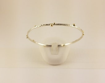 Sterling Silver & 14KT Gold Bangle Bracelet