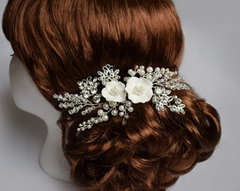 Wedding hair piece with Rhinestone, Wedding hair comb, Pearl Hair Comb, Bridal Hair Comb, Bridal Hair Piece, Wedding Hair Piece