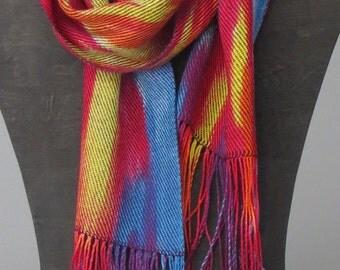 Handwoven Dye Painted Silk-like Scarf