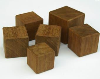 SALE -25% Mahagony wood block, Amazing feel and softness, Set of six (6) blocks, High quality hardwood blocks
