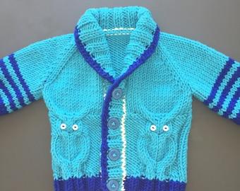 Personalised Baby Sweater, Hand Knitted, Pure Merino Wool, Blue