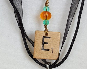 """Wire Wrapped Scrabble Tile Initial """"E"""" Necklace Jewelry for Women Free Shipping Jewelry Monogram Necklace"""