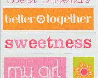 Life Girl Quotes Colorbok Stickers Scrapbook  Embellishments Cardmaking Crafts