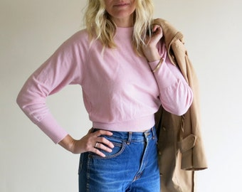 Baby Pink Cropped Merino Sweater