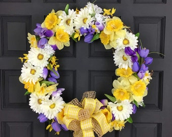 Easter Daffodil Wreath for Front Door - Free Shipping Sale - Spring Wreath for Front Door - Spring Easter Wreath - Front Door Wreath