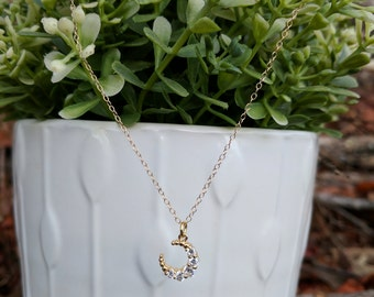 Dainty moon necklace gold filled