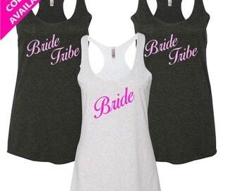 BRIDE TRIBE SHIRTS -Bridesmaid Tank Tops, Bridesmaid Shirt Set, Bride Shirt Set, Set of Bridesmaids Shirts Tank Tops, Bachelorette Party Top