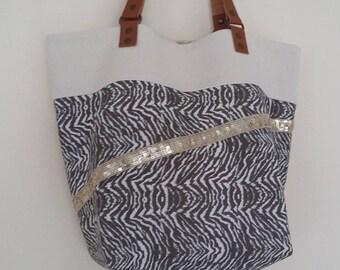 "The tote bag ""Amy"", reversible bag, purse, tote bag, backpack glitter, big bag, hobo bag, tote bag, leather, neoprene, cotton handles"