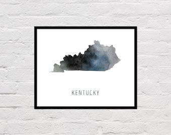 Kentucky Map Print, Printable Kentucky State Map, Kentucky Art Print, Kentucky Wall Art, Watercolor Map, Kentucky Poster, Digital Download