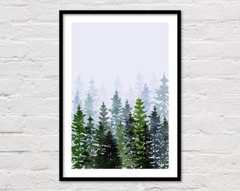 Forest Watercolor Art Print, Mountain Printable, Green Trees, Botanical Prints, Green Wall Art, Woodland, Evergreen Trees, Digital Download