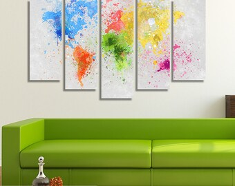 LARGE XL World Map Painting Canvas Print Splashes of Colors On Hand Painting Canvas Wall Art Print Home Decoration - Framed and Stretched