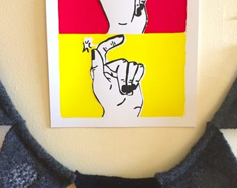 Finger Snap Screen Printed Poster