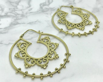 Mandala Hoop earrings, Bohemian Boho earrings, brass Hoops, Tribal earrings