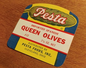 10 Pesta Brand - Imported Queen Olives Jar Labels - South Shore Packing Corp.