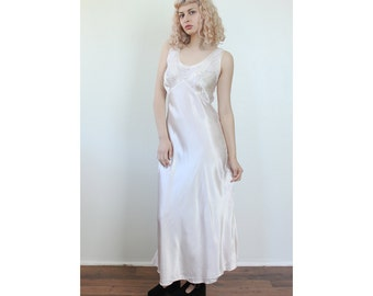 60s Slip Dress Champagne // Vintage Lingerie Silky Lace Maxi - Large
