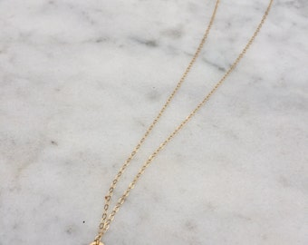 Initial Necklace - Gold Dainty Initial Necklace - Tiny Disc Necklace - Hand Stamped Necklace - Birthday Gift - Bridesmaid Gift
