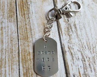 i stand with PP- Oval Hand Stamped Key chain - Charity - Fundraiser - Planned Parenthood MN