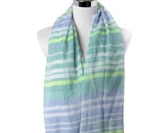 Striped Blue Green Scarf Autumn / Spring Summer Scarf / Womens Scarves / Shawls Wraps / Gift for her / Handmade Scarf