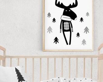 DEER Baby Print, Nursery Scandinavian Kids Poster, WOODLAND CREATURES, Forest Theme Nursery Wall Art, Monochrome Minimalist Digital Print