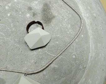 Concrete/cement/Pendant Necklace set in cement/concrete/cement Ring Brooch