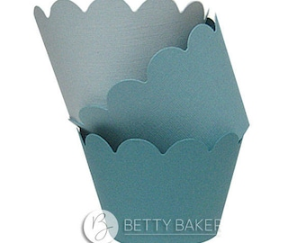 Cupcake Wrappers Trio - Shades of Teal. Decorate your Finished Cupcakes - Pack of 12 Wrappers