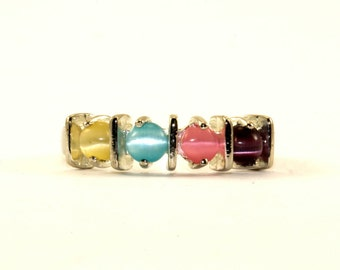 Vintage Multi-Color Chrysoberyl Stone Ring 925 Sterling Silver RG 1576