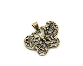 Vintage Butterfly Shape Pendant 925 Sterling Silver PD 1064