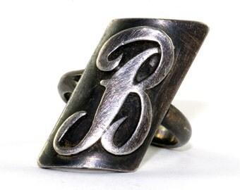 """Vintage O'brien Designer Initial Letter """"B"""" Ring 925 Sterling Silver RG 1062"""