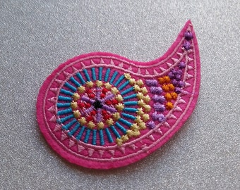 Pink Paisley Iron |On Patch/Applique/Sewing Supplies/Embroidered Patch/Clothing Patch/Jacket Patch/Jean Patch/Hat Patch