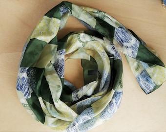 Scarf 100% Silk Green Yellow Nature Theme