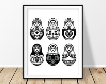 Instant download art, Russian doll print, Girl nursery decor, Russian nesting dolls, Russia souvenir, Babushka wall art, Matryoshka poster