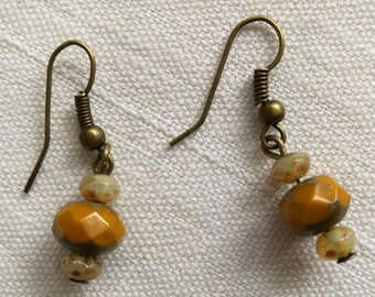 Dark yellow and bronze earrings / free shipping