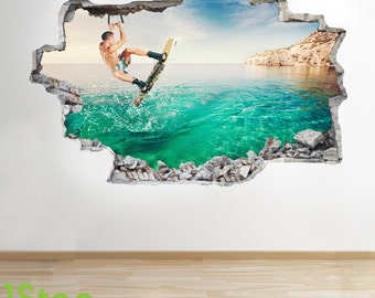 Wakeboarding Wall Sticker 3d Look - Boys Kids Bedroom Extreme Sport Wall Decal Z110