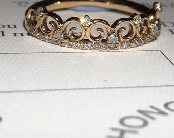 2.34g solid rose gold crown ring